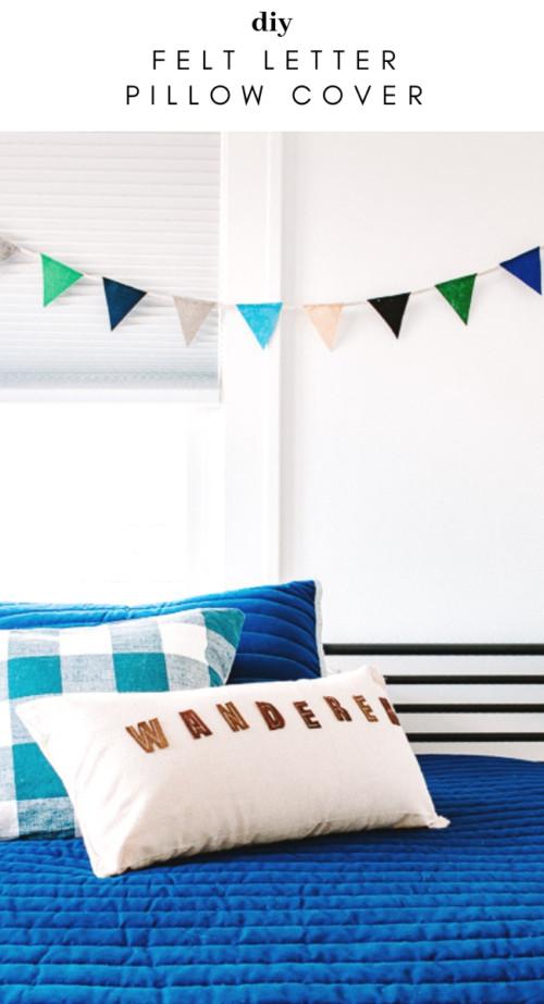 DIY Felt Letter Pillow Cover
