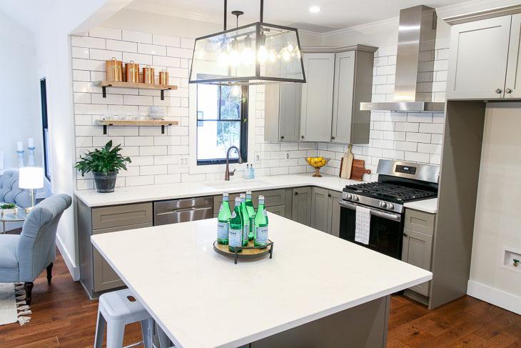 Beautiful modern farmhouse reclaimed open shelves subway tiles and carrara quartz countertops