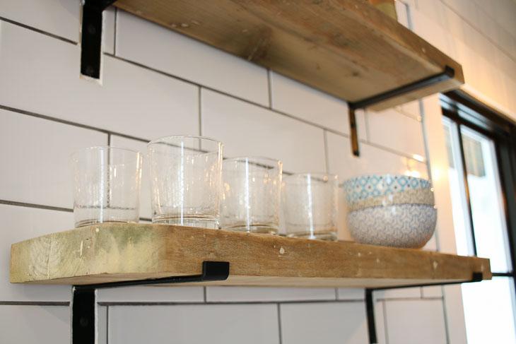 reclaimed lumber open shelving modern farmhouse style with glasses