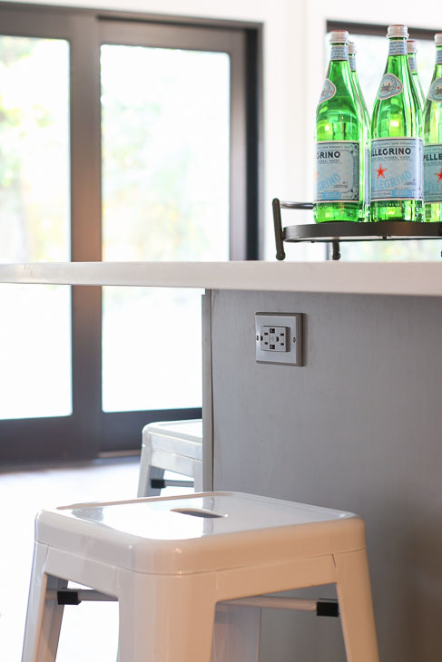 Leviton gray usb charging outlet in gray island