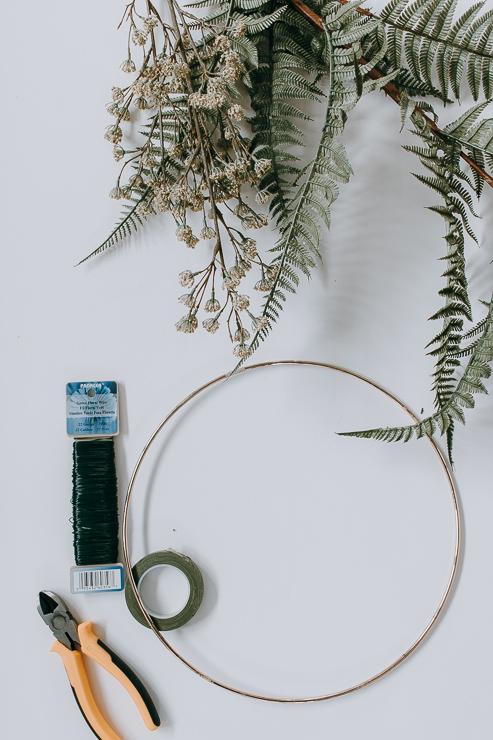 Materials Needed to Make a DIY Modern Hoop Wreath