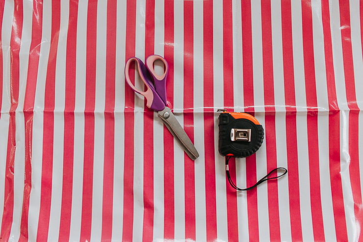 Gather materials needed to make oilcloth drink coasters
