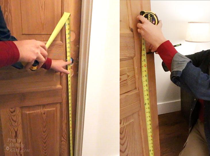 Measure and mark door knob heights
