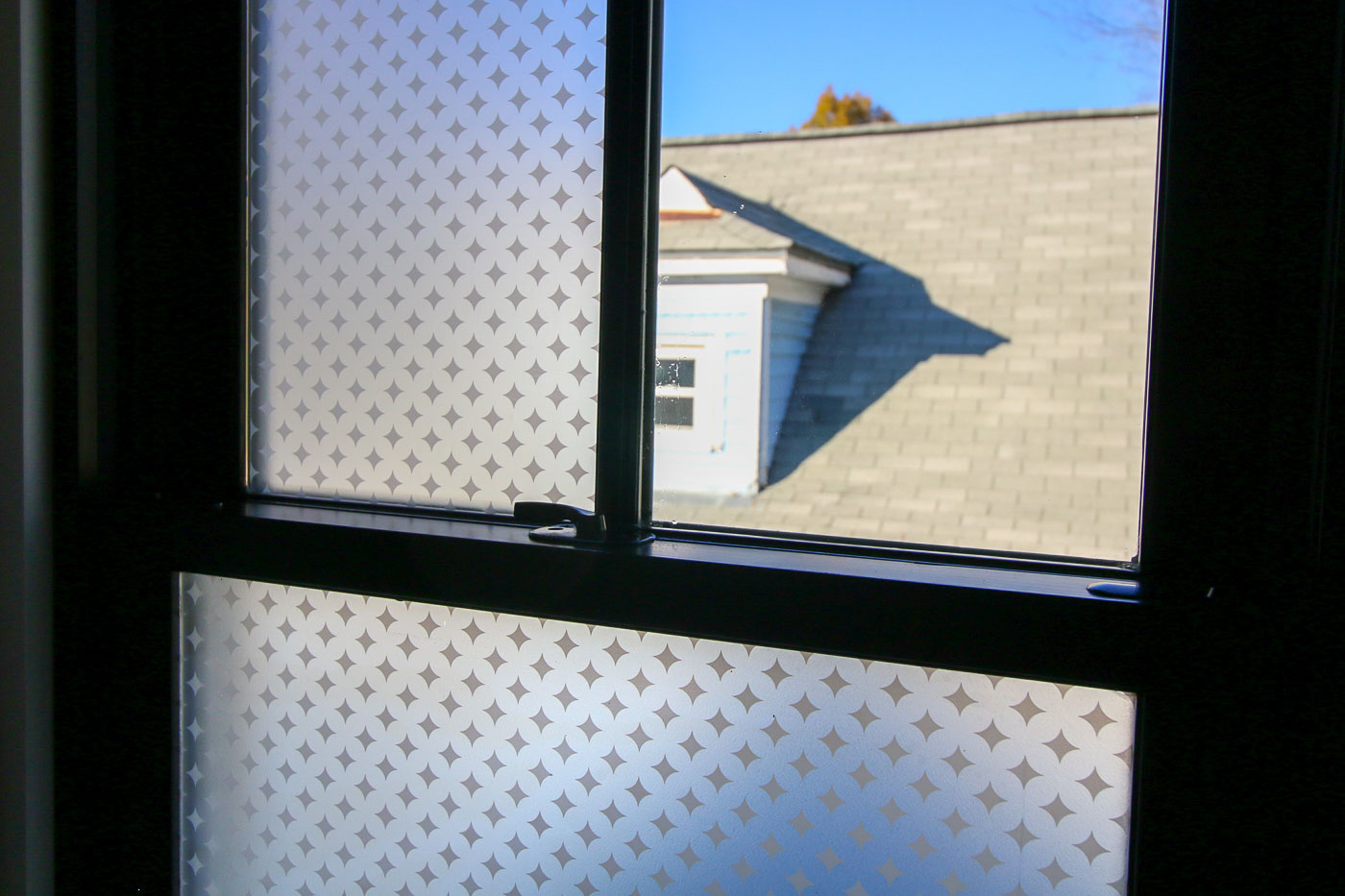 Half installed window privacy film see the difference