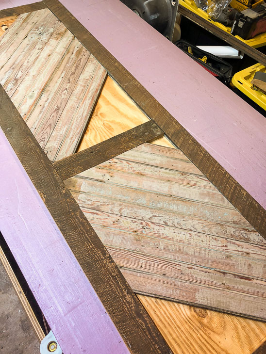 almost all bead board pieces dry fit in reclaimed wood door border