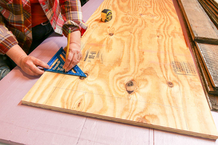 measure and mark on plywood for door size