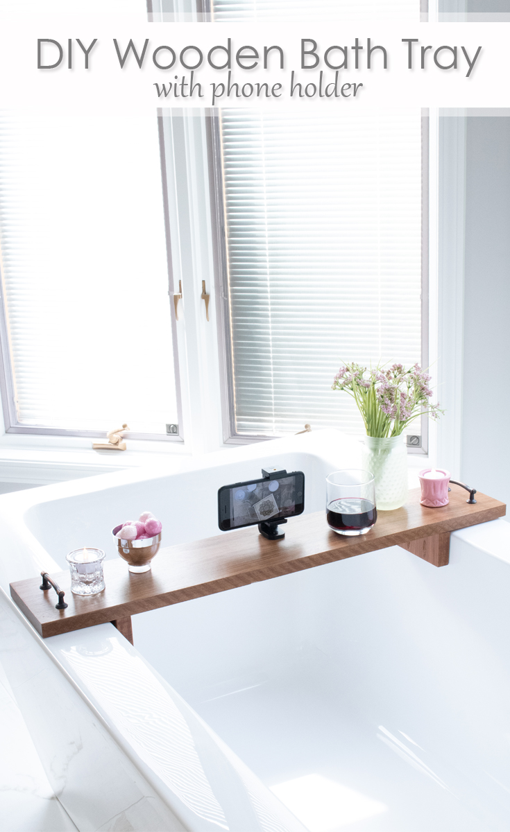 DIY Wooden Bath Tray with phone holder Pinterest image