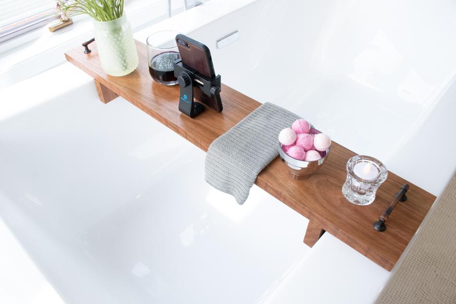 Finished DIY bath tray with phone holder back angle photo