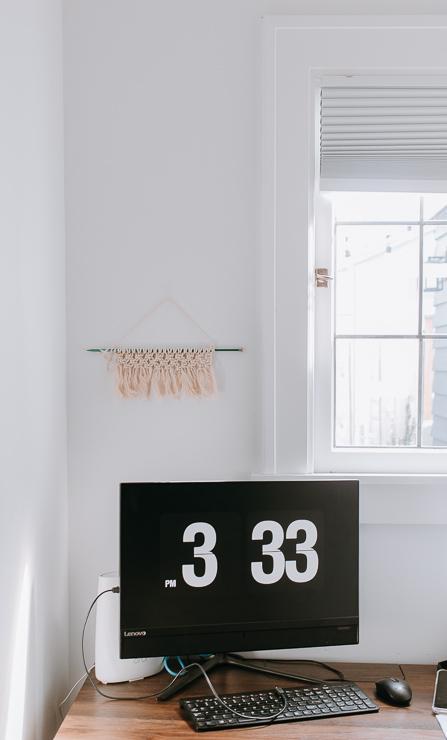Mini Macrame Wall Hanging in an Office