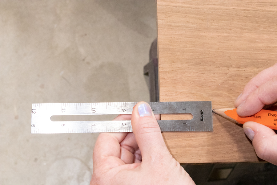 measure and mark where handles will go