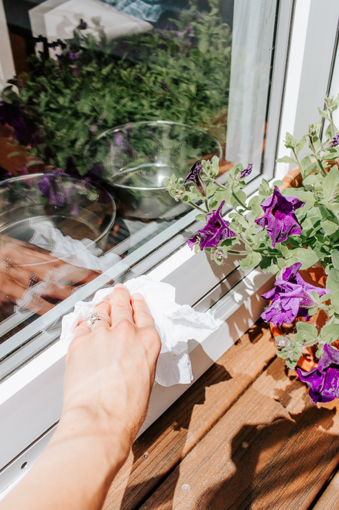 Wipe off excess water from your window sill