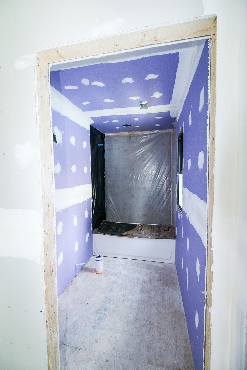 Upstairs Bathroom Purple Drywall Installed