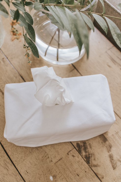White Tissue Box Cover on Table