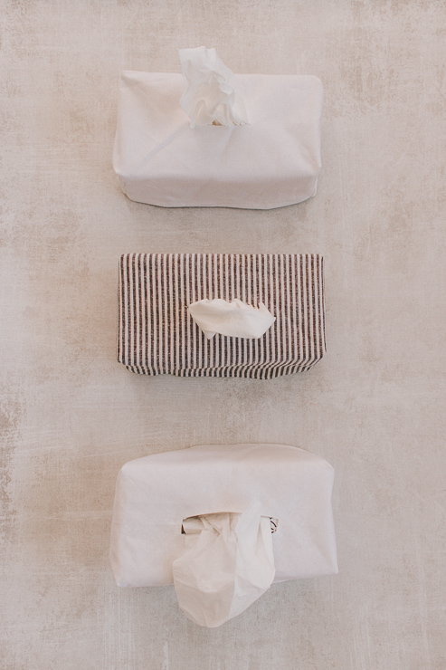 Tissue Box Covers - White Canvas and Striped Fabric
