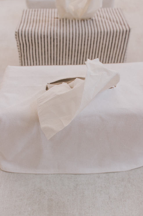 Tissue Box Covers - White and Striped Fabric