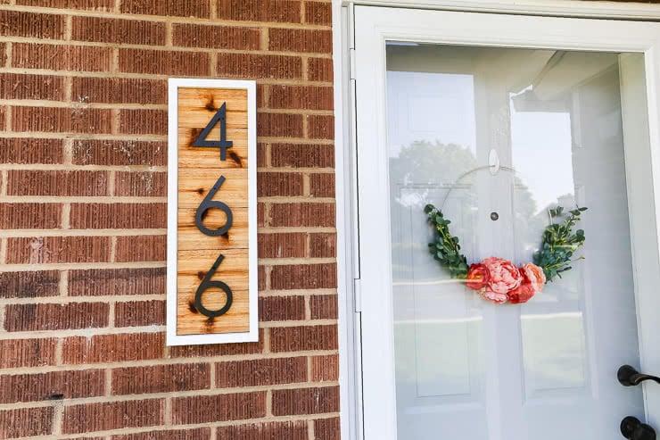 DIY cedar house number sign