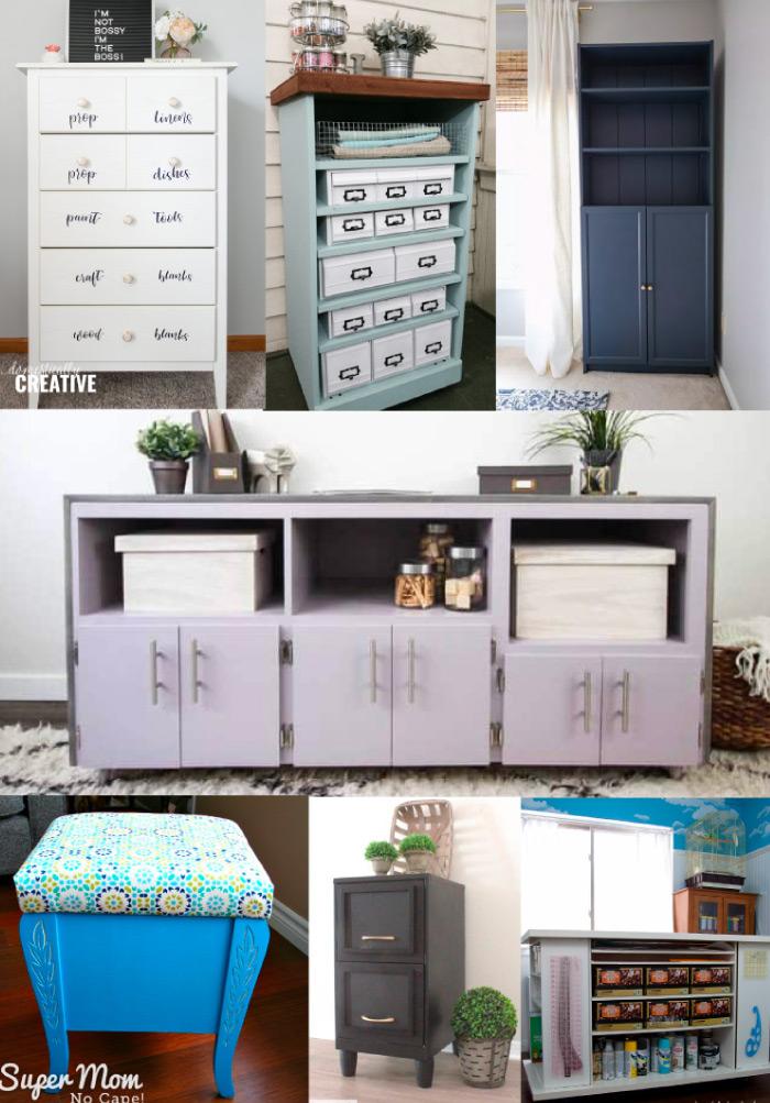 Repurposed furniture for craft room storage