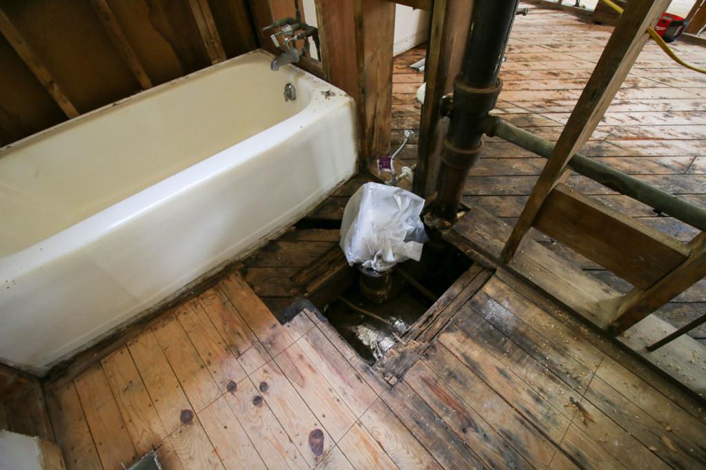 rotted floor around toilet