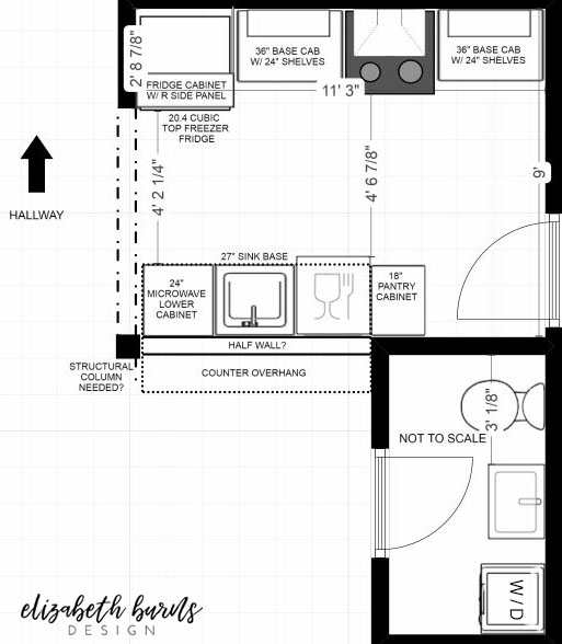kitchen layout of Millie's Remodel project