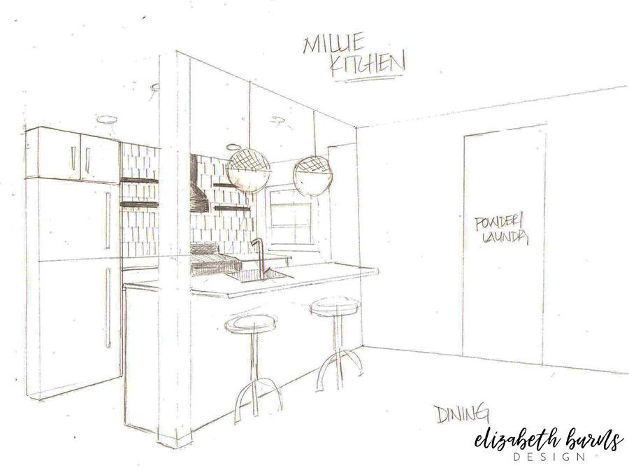 Pencil sketch of Millie's Remodel Kitchen