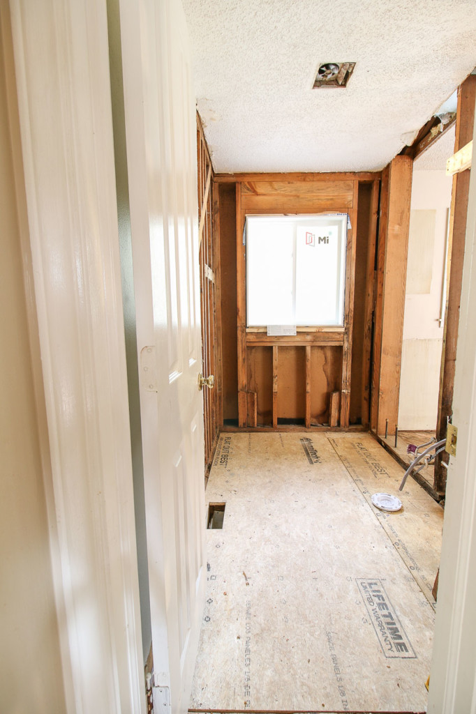 view of framing and new subfloor in bathroom