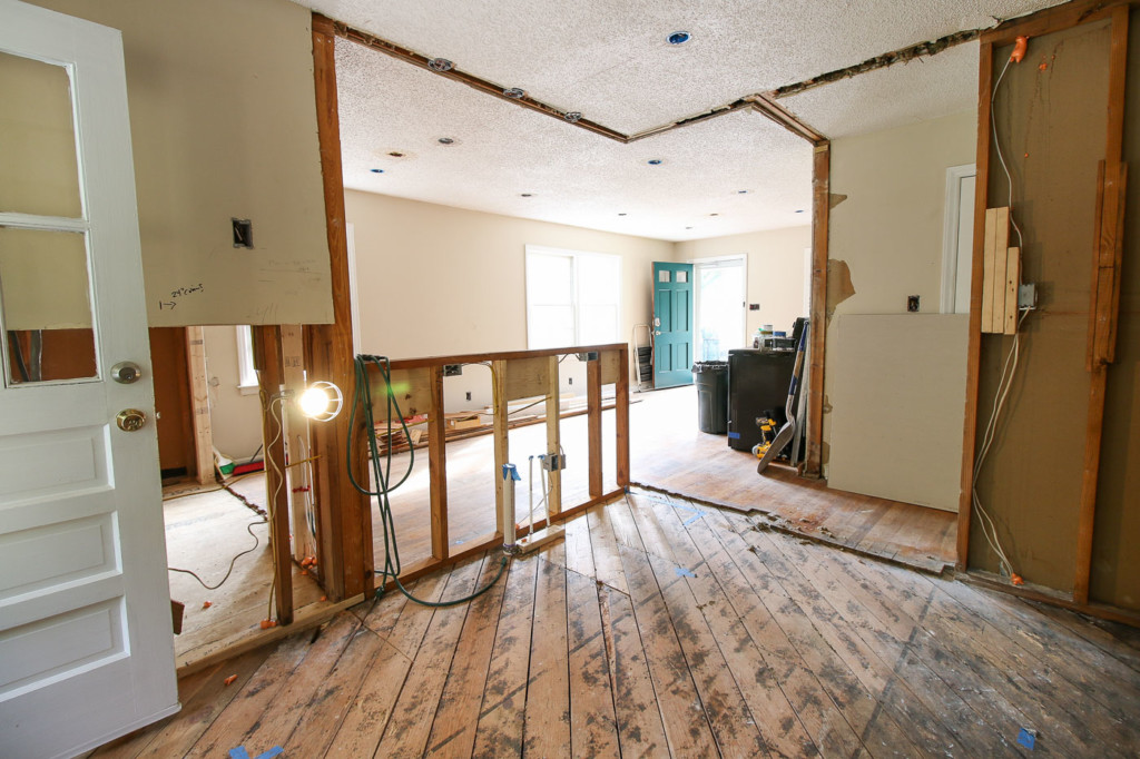 view from kitchen into living room showing new open concept