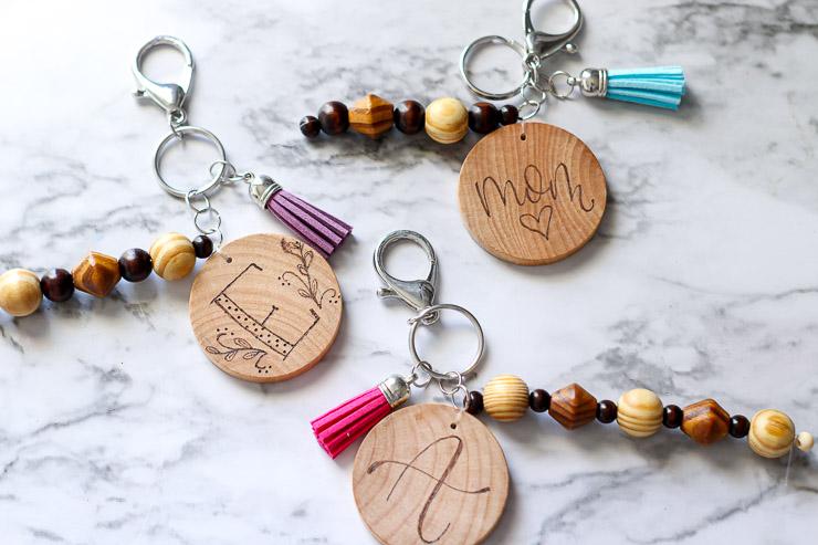 Wood burned personalized keychains