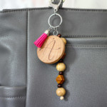 Monogram Keychain with burned on design and wooden beads