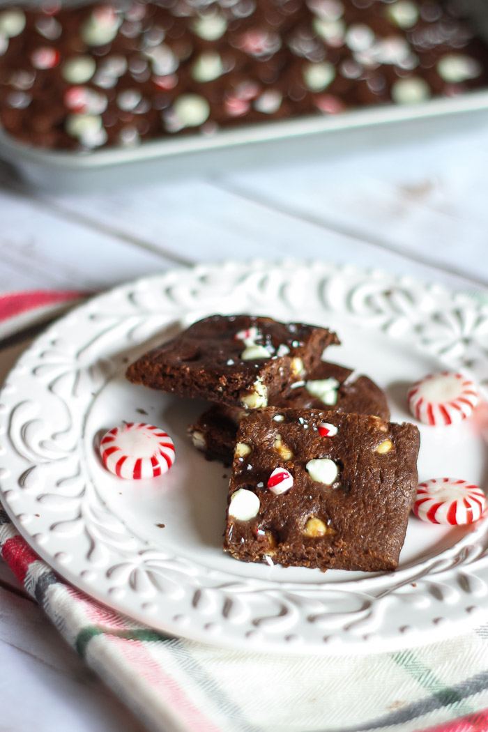 Dark Chocolate cookies with peppermint and white chocolate chips