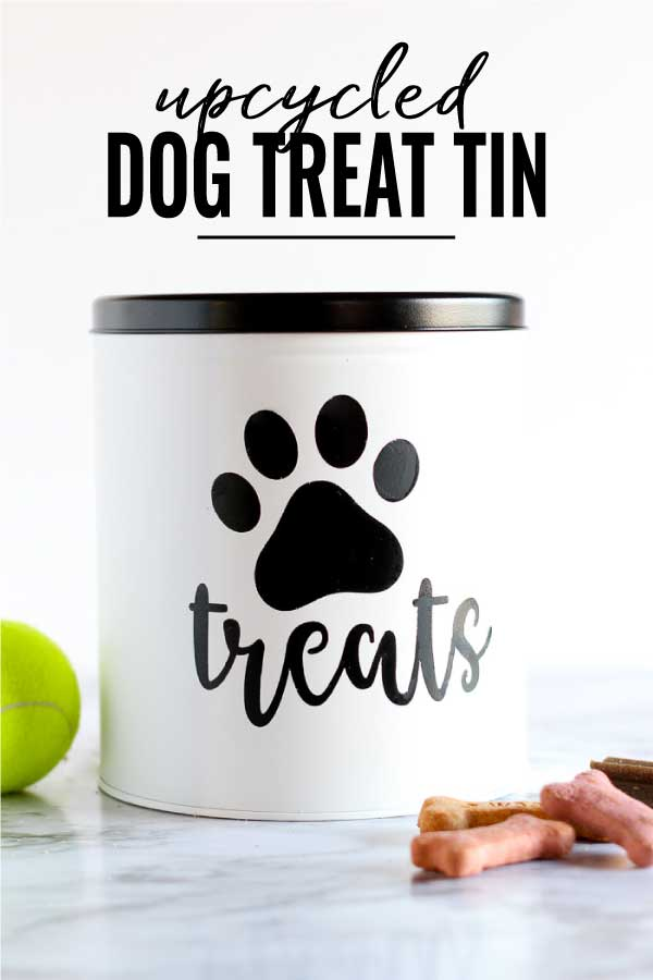 Upcycled Dog Treat container from and old popcorn tin