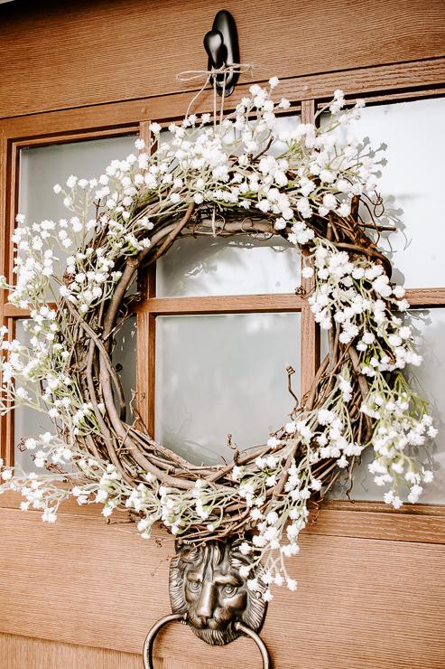Spring Wreath hanging on front door