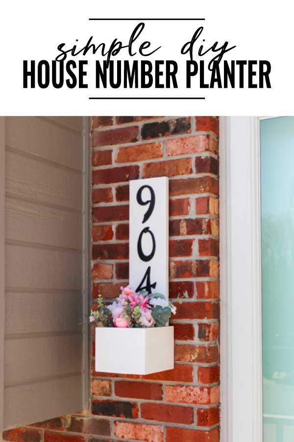 diy house number planter box pin image