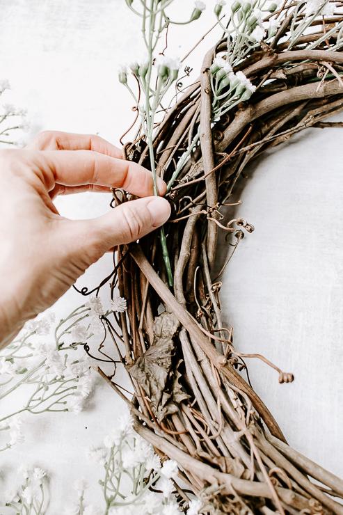 Insert Faux Florals into Grapevine Wreath