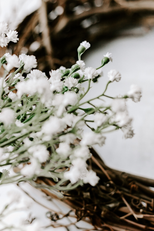 Close up of Faux Baby's Breath Floral