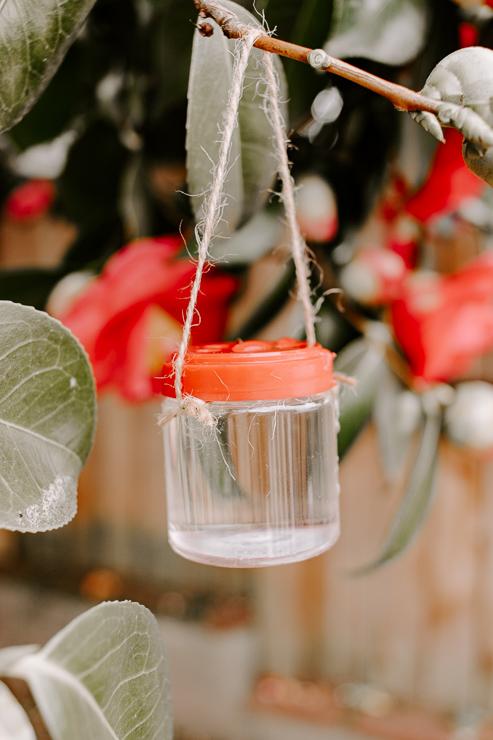 DIY Hummingbird Feeder from old spice jars!