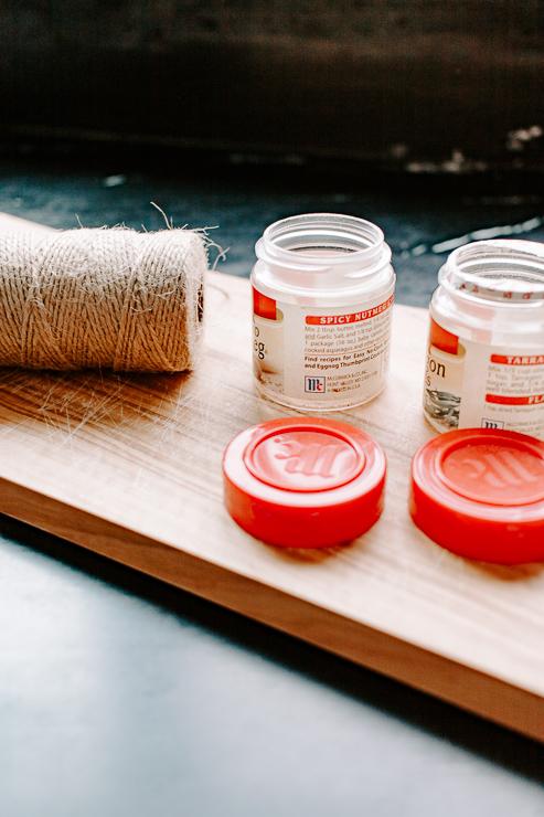 DIY Hummingbird feeder from little spice jars