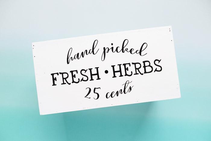 hand picked fresh herbs 25 cents vinyl applique