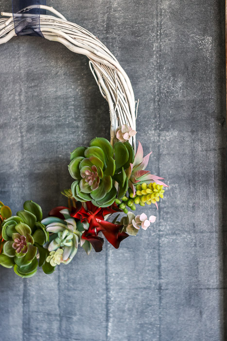 Side view of finished succulent wreath