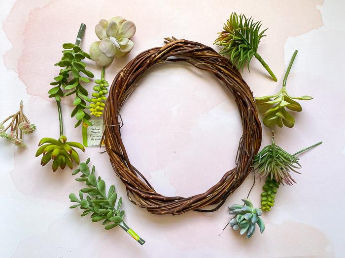 faux succulent wreath supplies