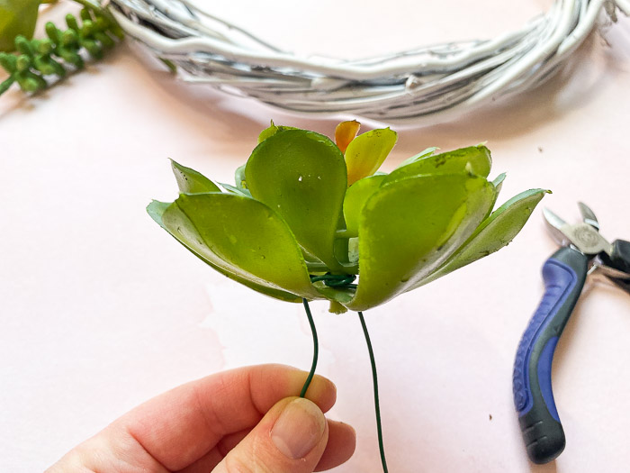 attach faux succulents to floral wire