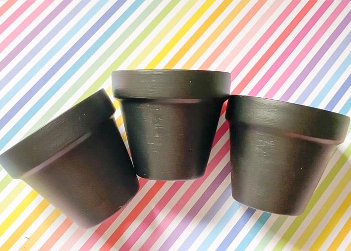 chalkboard paint clay pots
