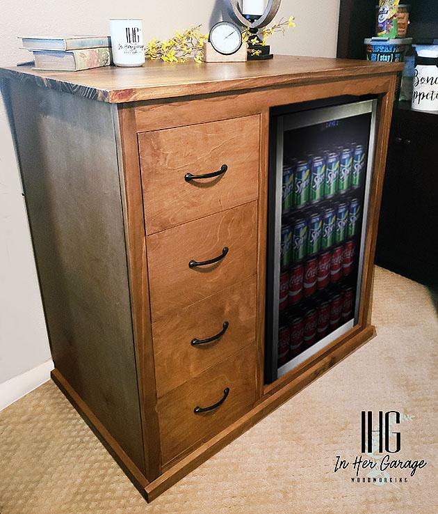 diy beverage center housing mini fridge
