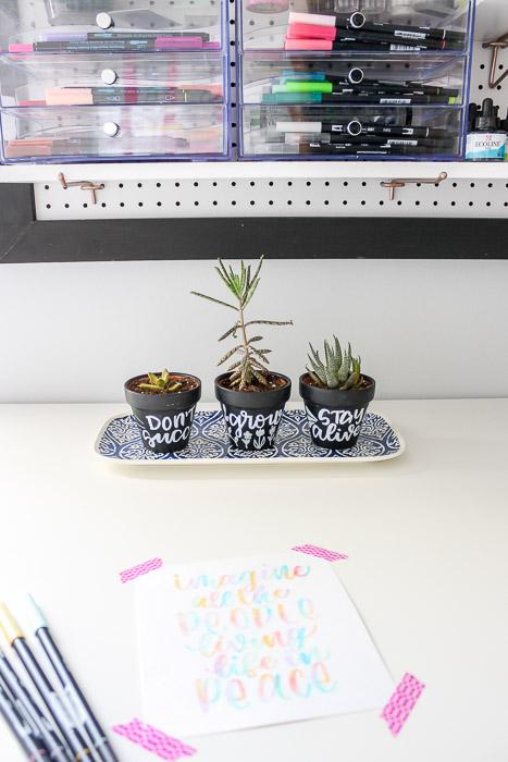 mini chalkboard pots in craft room