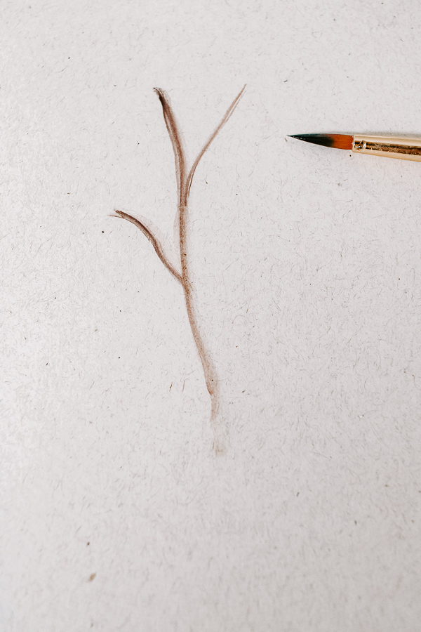 paint a stem using a small watercolor brush
