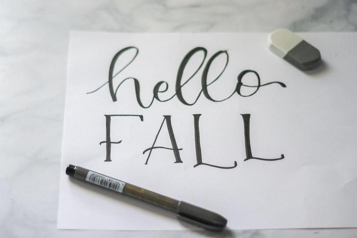 """hello fall"" hand-lettered design"