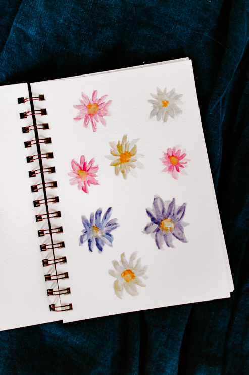 a page of yellow, purple and pink watercolor flowers