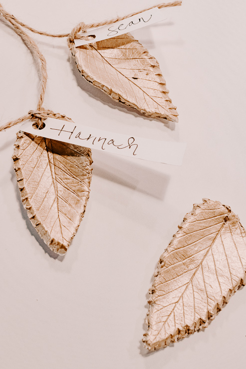 view of gold painted clay leaves