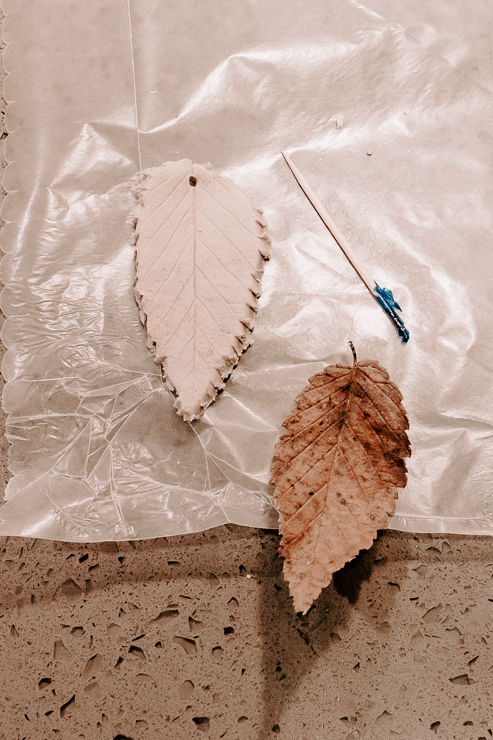 a leaf cut out of clay with a hole for hanging