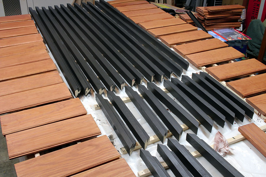 wood shutter pieces after staining
