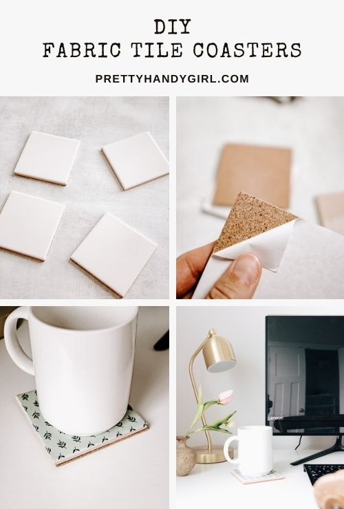DIY fabric tile coasters